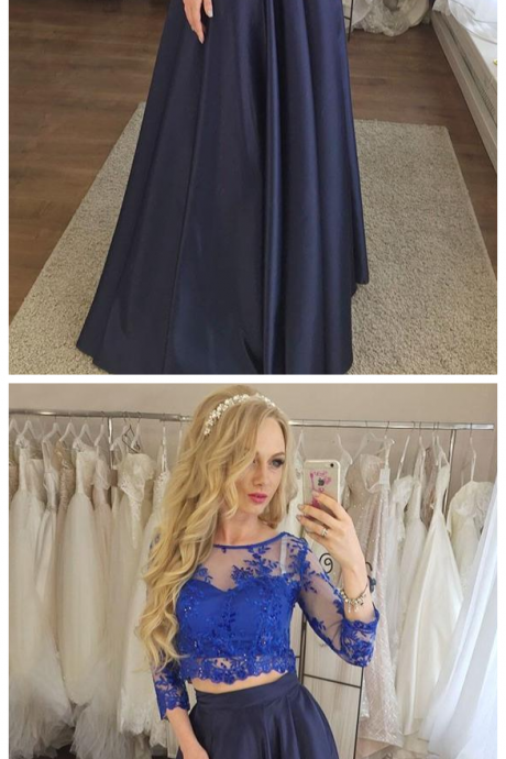 Two Piece Navy Blue Prom Dress with Lace, Cheap Prom Dress with Sleeves