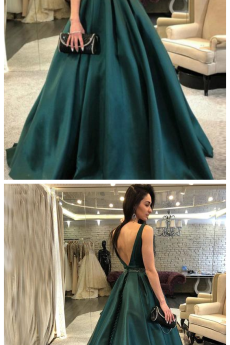 Dark Green Backless Evening Dress, Elegant Sleeveless Long Formal Dress