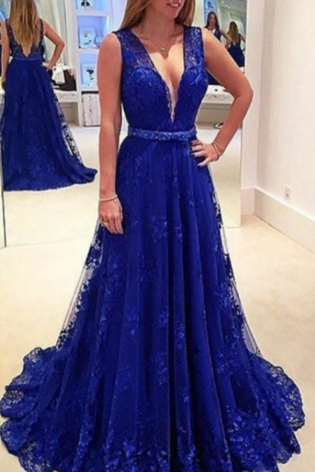 Hot Gorgeous Deep V-Neck Sleeveless Court Train Lace Crystal Beaded Sash Evening Dresses Sexy A-line Party Gowns Cheap