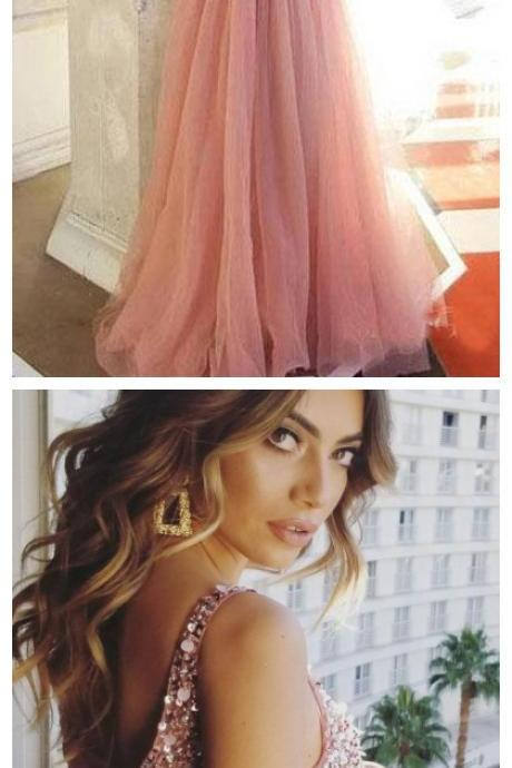Shiny V Neck Tulle Long Prom Dresses, A Line Sleeveless Sequins Party Dress