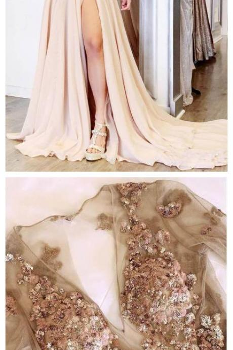 Long Sleeve See Through V Neck Prom Dresses, Elegant Split Evening Dresses