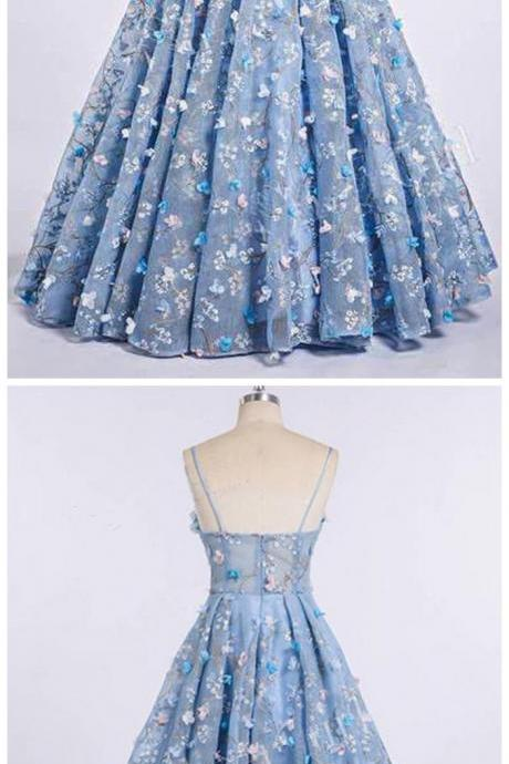 Blue Lace Spaghetti Strap 3D Flowers Applique Prom Dress, Ball Gowns