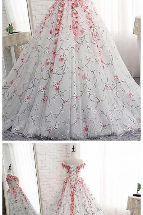 Off Shoulder Lace Applique Evening Prom Dresses, Cheap Custom Sweet 16 Dresses