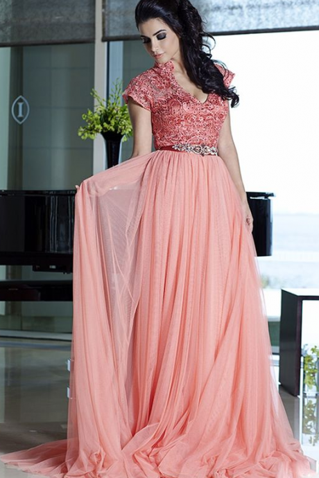 Charming Prom Dress, Elegant Cap Sleeve Prom Dresses, Long Evening Dress