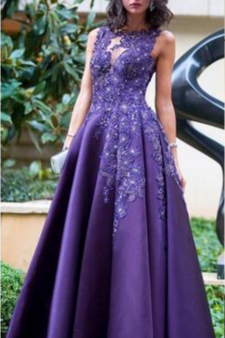Elegant Purple Formal Dresses,Applique Sleeveless Evening Dress,Sexy Back Runaway Prom Dresses,Red Carpet Prom Gowns