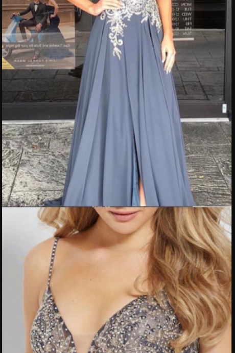 A-Line Spaghetti Straps Grey Floor-Length Prom Dress with Appliques