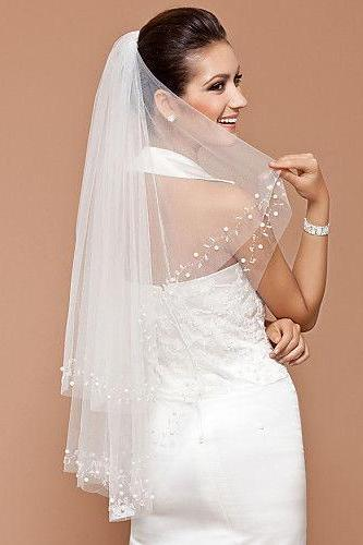 Wedding Veil 2T/ivory Elbow Beaded Edge pearl sequins Bridal Comb