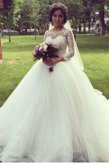 2016 Spring Summer Wedding Dresses Illusion Neck Sheer Long Sleeve Robe Mariage Lace Appliques Wedding Gowns Sweep Train Cheap Bride Dress
