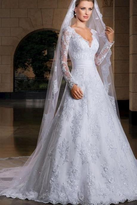FREE 3M VEIL 2016 Vintage Wedding Dresses A Line Lace Long Sheer Sleeve V Neck Beaded Sheer Back Court Train Long White Bridal Wedding Gowns