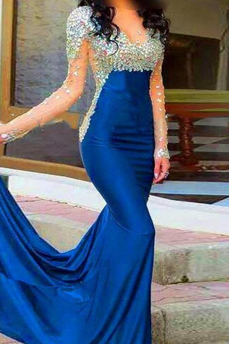 New Royal Blue Satin Long Sleeve Prom Dresses Strapless Sheer Floor Length Mermaid Evening Party Prom Gowns Sexy Cheap
