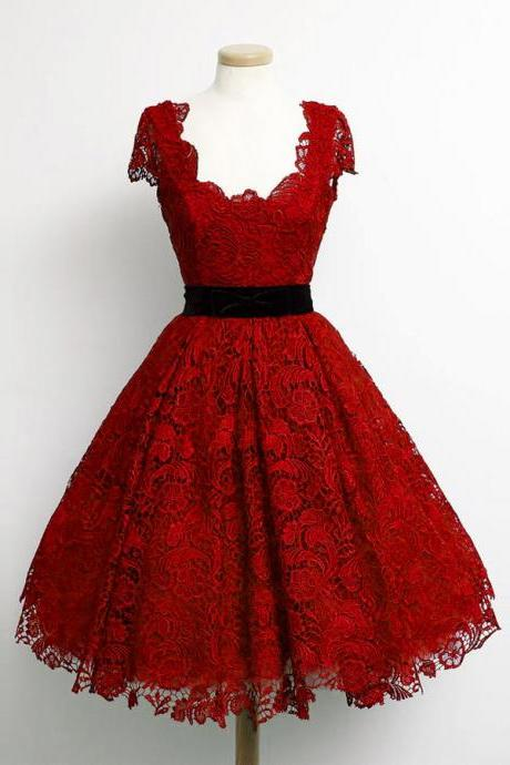 Charming Dark Red Lace Cap Sleeve Prom Party Dresses 2016 Elegant Knee Length A Line Plus Size Celebrity Dresses Gala
