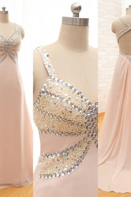 Custom Made Fashion Long Chiffon Prom Dresses ,A-line Sweetheart Spaghetti Backless Evening Dresses With Sequined Beaded