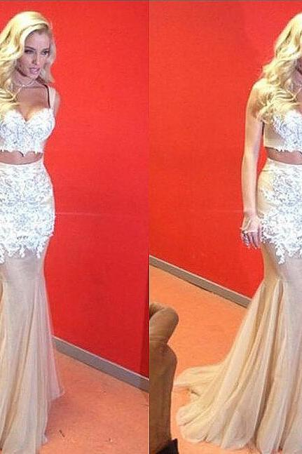 Two Piece Prom Dresses Sweetheart Appliques Sexy Long Evening Dresses Tulle Party Dress Prom Gowns