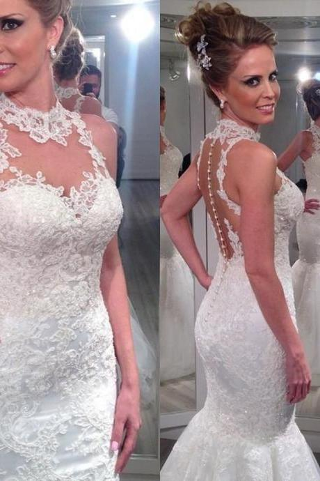 Bride Dresses Sexy High Neck Nude Back Lace Mermaid Wedding Dresses Vestido De Renda