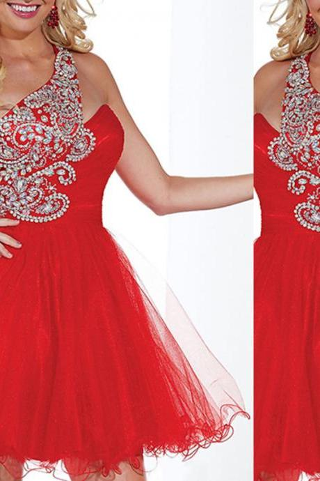 Homecoming Dress,One Shoulder Homecoming Dress,Graduation Dress,Organza Homecoming Dress,Sequined Homecoming Dress,Beaded Homecoming Dress,Modest Homecoming Dress,Red Homecoming Dress,Dress for Graduation,Prom Dress