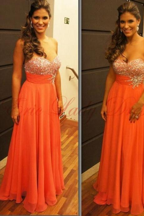Prom Dress,long Prom Dress,Custom Made Prom Dress, Orange Prom Dresses, Sexy Prom Dress Chiffon Prom Dresses , Floor-Length Prom Dresses,2015 Prom Dresses