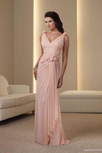 Custom Size Mother of the Bride Dresses V neck Sexy Chiffon Formal Party Dresses