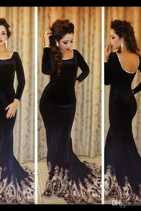Vintage Long Sleeve Evening Dresses Black Velvet Mermaid Prom Gowns Floor Length Backless Applique Formal Celebrity Dresses