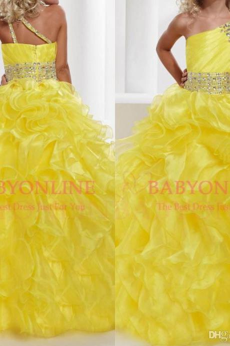 One shoulder Beaded Crystal Organza Ruffles Sash Belt party formal occasion ball gown Flower girl pageant dresses Princess