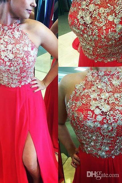 Distinctive Silver Lace Two-piece Long Prom Dresses Halter Beaded Sequined Bodice A-line Red Chiffon Side Split Evening Gowns Plus Size