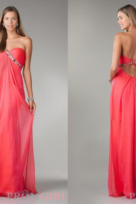 New Collection Snappy Prom Dresses Rhinestones Beaded And Pleated Empire Sweetheart Neck Backless Long Chiffon Party Gowns