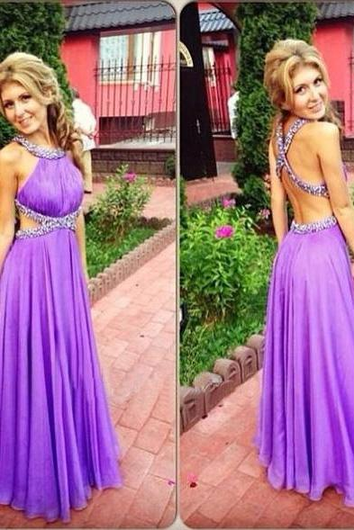 Backless Prom Dresses,Light Grape Prom Dress,Open Back Formal Gown,Open Backs Prom Dresses,Sparkly Evening Gowns,Chiffon Formal Gown For Teens
