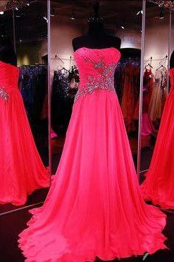 Chiffon Prom Dresses,Strapless Prom Dress,Modest Prom Gown,Sparkly Prom Gowns,Beading Evening Dress,Sparkle Evening Gowns