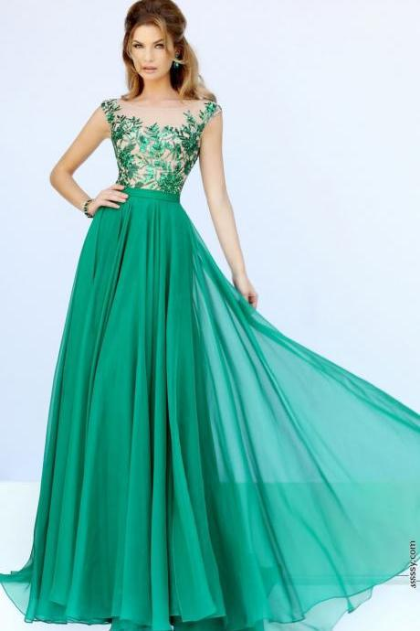 Greens Long Applique Evening Formal Dress Prom Pageant Dress Party Bridal Gowns