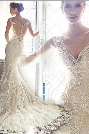 High quality lace applique wedding dress bride word shoulder perspective halter dress sexy deep V-neck mermaid Bohemia wedding dress custom