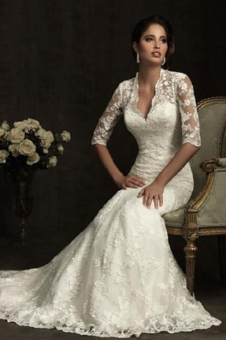 Mermaid wedding dress lace Seven Sleeve white wedding dress custom US size 2-4-6-8-10-12 -14++