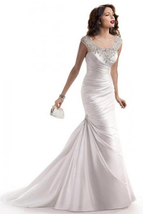 Classic white beaded mermaid wedding dress floor length wedding dress romantic wedding dresses