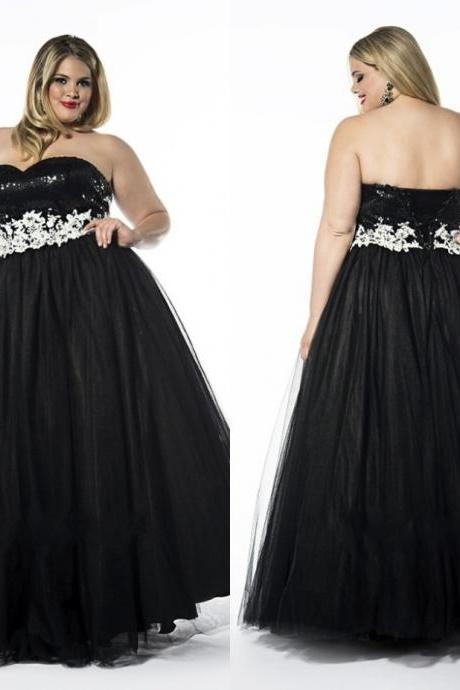 Fashionable Black Appliques Tulle Long Plus Size Prom Dresses With Lace Up Back Bandage Dresses Vestidos