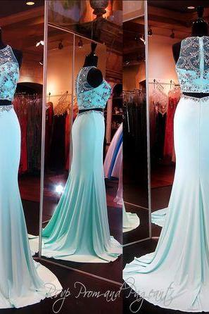 Real Image Sexy Prom Dresses Two 2 Pieces Bling Luxury Sparkle Mermaid Sheer Neck Beads Rhinestones Crystals See-through Back Long Formal Evening Party Gowns Vestidos