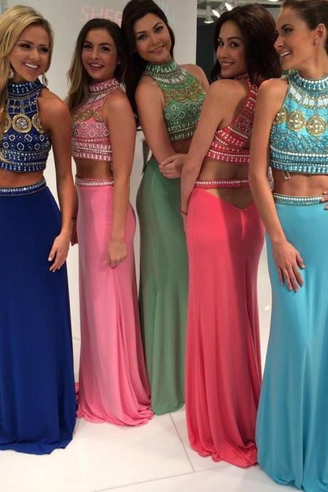 Real Image Sexy Prom Dresses Two 2 Pieces Bling Luxury Sparkle Mermaid High Beads Rhinestones Crystals Open Back Long Formal Evening Party Gowns Vestidos