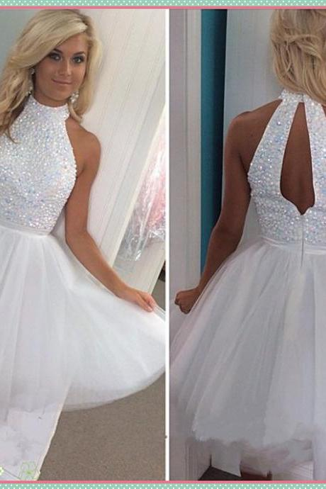 short prom dress, white prom dress, knee-length prom dress, pretty prom dress, junior prom dress, available prom dress, beading prom dress, party dress