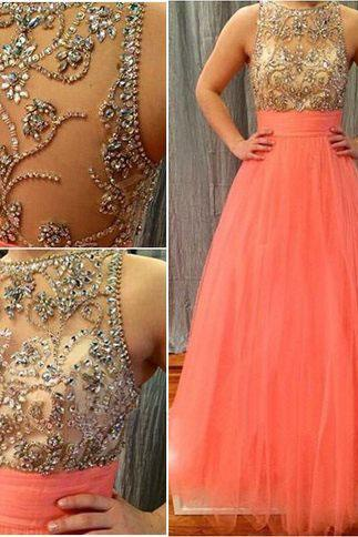 long prom dress, coral prom dress, charming prom dress, formal prom dress, affordable prom dress, beading prom dress, evening dress
