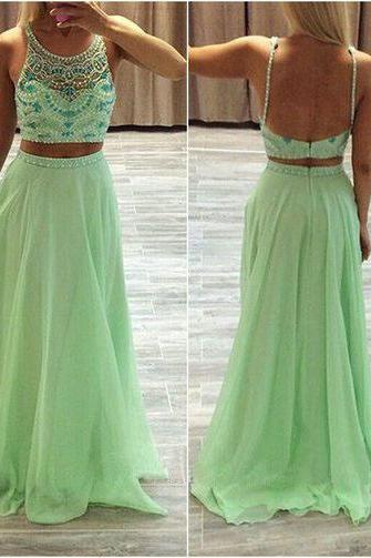 long prom dress, two piece prom dress, inexpensive prom dress, green prom dress, affordable prom dress, junior prom dress, evening dress