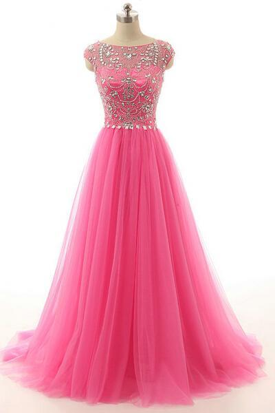Long prom dress, cap sleeve prom dress, tulle prom dress, modest prom dress, pink prom dress, formal prom dress, inexpensive prom dress, modest prom dress