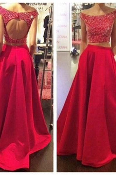 Long prom dress, red prom dress, cap sleeve dress, pretty prom dress, backless prom dress, two piece prom dress, junior prom dress, occasion dress