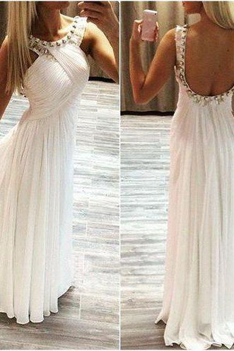 Long prom dress, white prom dress, simple prom dress, chiffon prom dress, open back prom dress, modest prom dress, custom prom dress, on sale prom dress