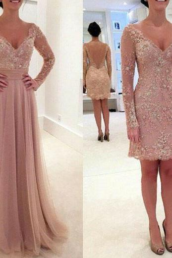Long prom dress, two piece prom dress, v-neck prom dress, lace prom dress, formal prom dress, modest prom dress, prom dress with long sleeve, occasion dress