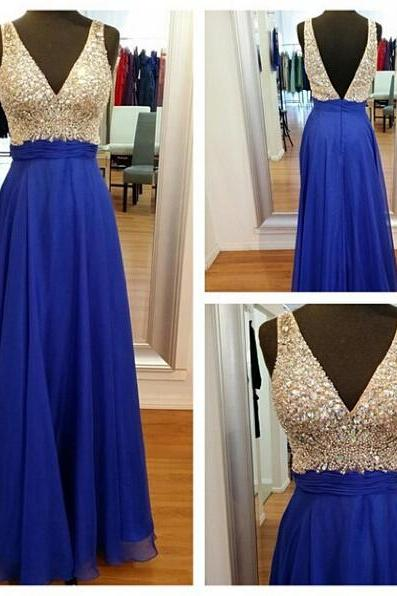 Long prom dress, off shoulder prom dress, v-neck prom dress, royal blue prom dress, floor-length prom dress, modest prom dress, evening dress