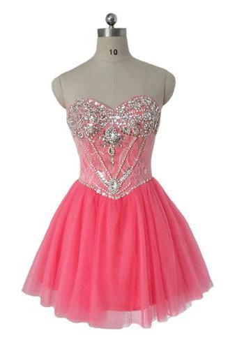 Pink homecoming dress, sweet heart homecoming dress, junior homecoming dress, beautiful homecoming dress, inexpensive homecoming dress