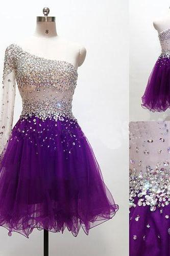 One shoulder homecoming dress, purple homecoming dress, gorgeous homecoming dress, knee-length homecoming dress