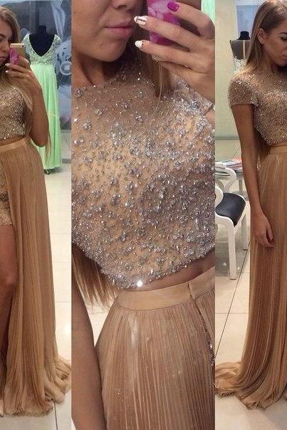 Beading Prom Dress,O-Neck Prom Dress,A-Line Prom Dress,Chiffon Prom Dress,Noble Two Pieces Prom Dress ,Tulle Prom Dress