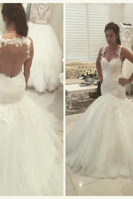 Sexy Wedding Dresses ,Backless Wedding Dress,Sweetheart Wedding Dress,Appliques Beads Wedding Dress,Sweep Train Wedding Dress, Mermaid Wedding Gowns,Custom Made Bridal Dress