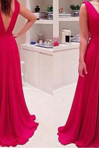 Red Off Shoulder V-Neck Charming Prom Dresses,The Elegant Floor-Length Evening Dresses,Sexy Chiffon Prom Dresses, Real Made Prom Dresses On Sale