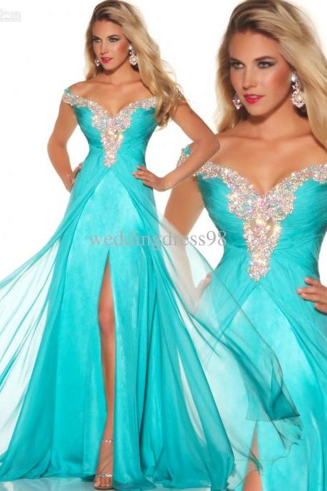 Stunning Rich Beaded Cap Sleeve Long Chiffon Aqua Formal Evening Prom Pageant Dress Gowns
