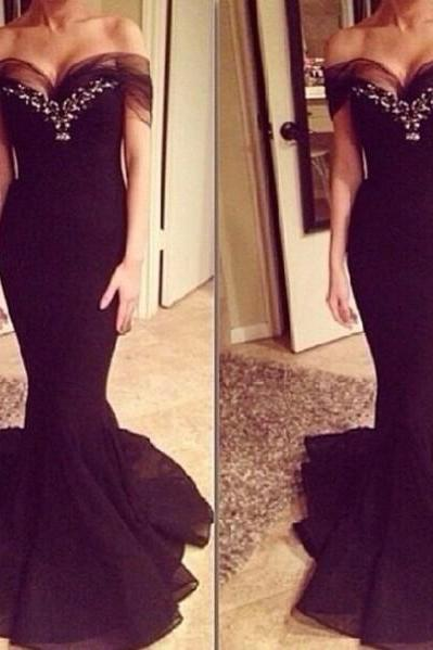 Long Prom Dress, Black Prom Dress, Evening Dress, Mermaid Prom Dress, Sexy Prom Dress, Handmade Prom Dress