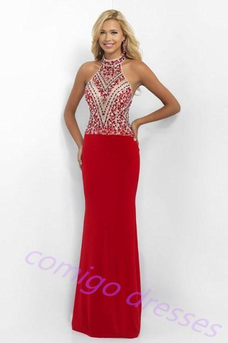 Sheath/Column Sleeveless High Neck Jersey Rhinestone Sweep/Brush Train Dresses prom dresses evening dresses